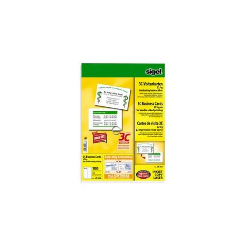 Sigel Visitenkarten 3c Beidseitig Bedruckbar Hochweiß 225g 100 Stk Lp850