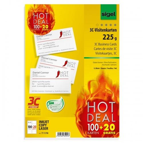 T1170 Sigel 3c Visitenkarten Hot Deal 20 Karten Gratis Glatter Schnitt Rundum 225 G M Hochweiß 120 Stk