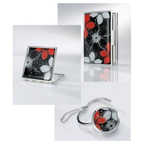 Sigel Jolie Visitenkarten Etui Taschenspiegel Und Handtaschenhalter Im Set Secret Schwarz Rot Mit 25 Kristallsteinen