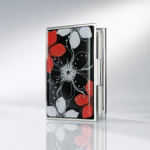 Sigel Visitenkarten Etui Jolie Secret Schwarz Rot Mit 25 Kristallsteinen Vz370 A