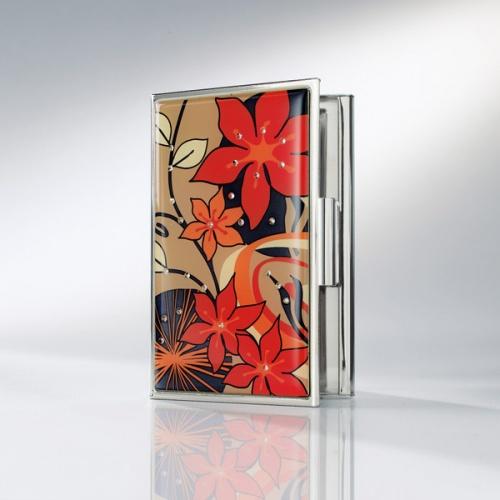 Sigel Visitenkarten Etui Jolie Harmony Orange Rot Braun Mit 25 Kristallsteinen Vz375 A